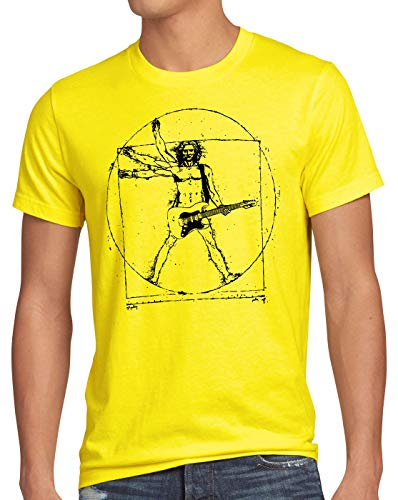 style3 Da Vinci Rock Camiseta para Hombre T-Shirt música Festival, Talla:3XL, Color:Amarillo