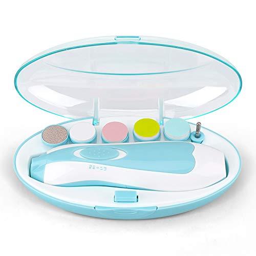 電動爪切り ベビー電動ネイルケア 赤ちゃん ネイルケアセット 爪みがき 低騒音 角質除去 甘皮処理 静か LEDライト、 赤ちゃんと大人のため (ブルー)