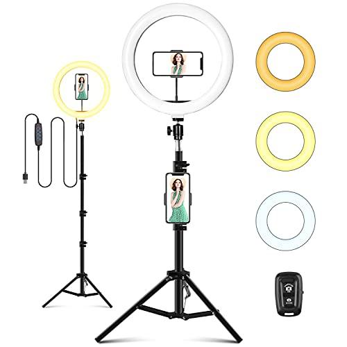 Ring Light Telefono, Selfie Ring Light LED con Treppiede, 10 Pollice Luce ad Anello, Anello Luminoso per Tik Tok Trucco Fotografia in Streaming 3 Modalità Colore e 11 Luminosità Alimentato Tramite USB