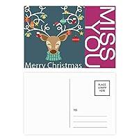 クリスマスギフト松葉杖ヘラジカベル祭パターン ポストカードセットサンクスカード郵送側20個ミス