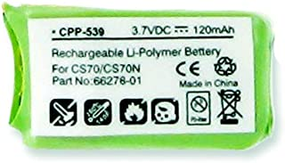 Battery Compatible With Plantronics 66278-01 Headset Battery Li-Pol, 3.7 Volt, 120 mAh - Ultra Hi-Capacity - Works for Plantronics CS70/N, 66278-01 Rechargeable Battery