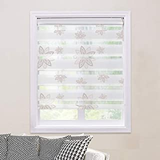 PASSENGER PIGEON Zebra Window Blinds, Premium Light Filtering Horizontal Dual Layer, Cord Loop Floral Window Shades, 34
