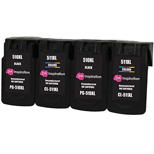 INK INSPIRATION 4 Cartuchos de Tinta Remanufacturados para Canon PG-510XL CL-511XL Pixma MP230 MP240 MP250 MP252 MP260 MP270 MP280 MP282 MP480 MP490 MP495 MP499 iP2700 iP2702 MX320 MX330 MX350 MX360