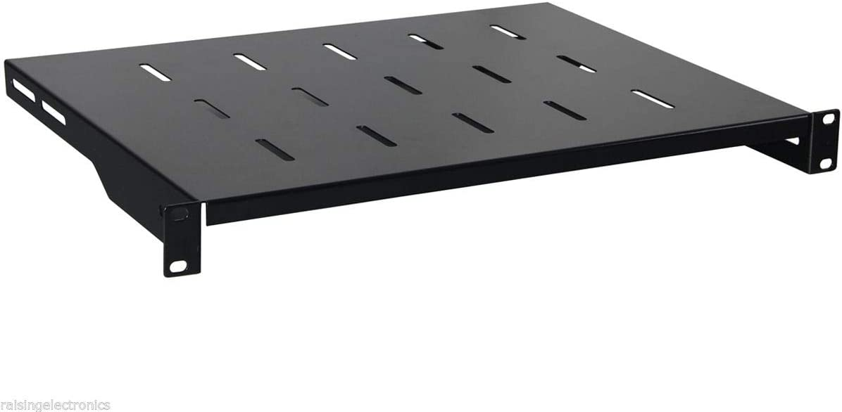 RAISING ELECTRONICS 1U Black Flexible 14inch (350mm) deep Cantilever Server Shelf Vented Rack Mount 19inch