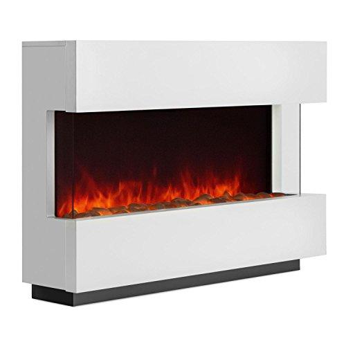 Klarstein Studio-1 - elektrischer Kamin, E-Kamin, Kaminofen, LED-Flammensimulation, MDF-Holz, 750 und 1500 W, für 40 m², Fernbedienung, Flammeneffekt steuerbar, weiß
