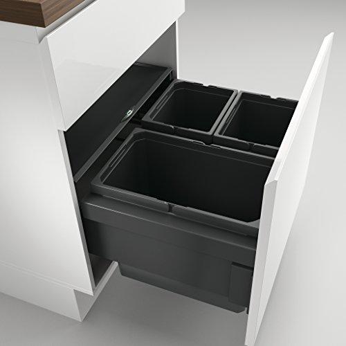 NABER Cox® Base 360 S/600-3 ohne Biodeckel Abfallsammler/Anthrazit / 2x 10 + 1x 22 L