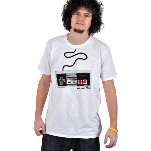 Cool Nintendo Retro heren T-shirt NES CONTROLLER wit maat XL.