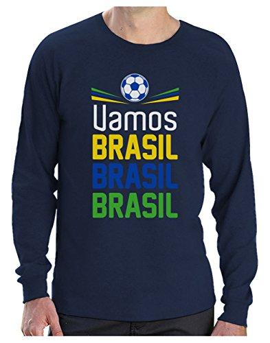Camiseta de Manga Larga para Hombre - Apoya la Selección Brasil en el Mundial de Rusia 2018!