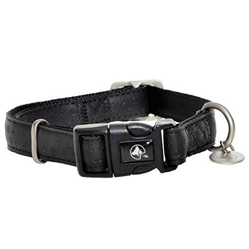 Collier pour chien en cuir synthétique et nylon avec boucle réglable à clipser Noir 30-45 x 20 mm