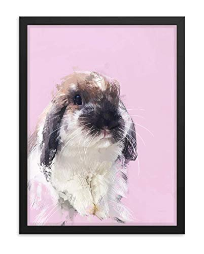 Hilltop Pixel Rabbit Framed Wall Art Print, Beautiful Bunny Painting, Pet Animal Home Decor Gift (18Wx24L, Black Frame)