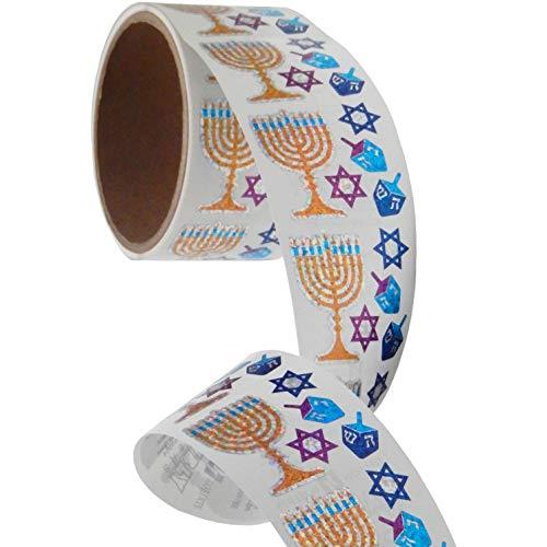 Bulk Roll Prismatic Stickers, Mini Hanukkah Assortment (100 Repeats)