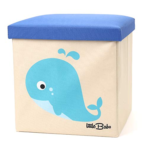 little Babo Faltbare Aufbewahrungsbox Kinder - groß & stabil zum sitzen - Spielzeug-Kiste mit Deckel - Aufbewahrung im Kinderzimmer - Regal-Korb - Storage Box - Aufbewahrungskorb Kinderzimmer - Wal