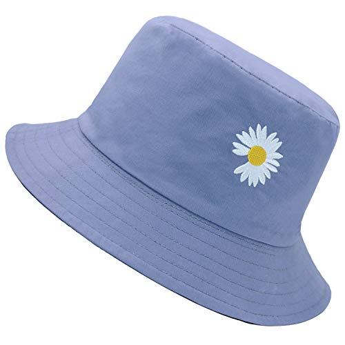 Flower Embroidery Hat Summer Travel Bucket Beach Sun Hat Reversible Vistor Outdoor Cap (Navy/Black)