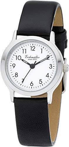 Eichmüller Reloj de pulsera analógico para mujer con caja de acero inoxidable pulido y correa de piel mate.