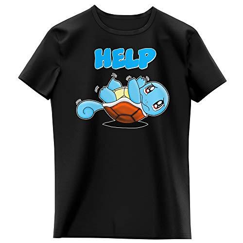 Okiwoki T-Shirt Enfant Fille Noir Parodie Pokémon - Carapuce - Help !!! (T-Shirt Enfant de qualité Premium de Taille 11-12 Ans - imprimé en France)