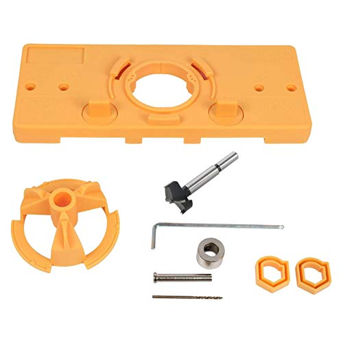 JVSISM 35mm Hinge Hole Jig Drill Guide Set Closet Door Hole Jig Puncher Hinge Drilling Tool Set for Cabinet Door Installation