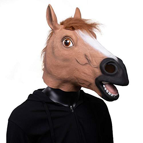 XWYZY Mscara de Halloween con cabeza de caballo de animal para cosplay divertida cara completa de caballo de ltex para fiesta de Halloween