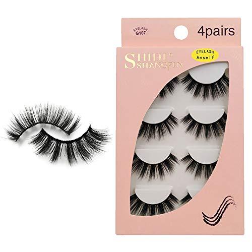 Anself Falsche Wimpern, 3D Falsche Wimpern 4 Paar 3D Imitierte Wassermähne Wimpern, Wiederverwendbar, schwarz