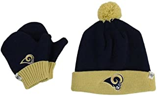 '47 Brand Infant/Toddler Bam Bam 2-Tone Beanie Hat POM and Glove Gift Combo - NFL Baby Knit Cap/Mittens