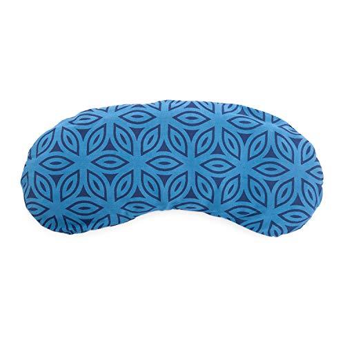 Bodhi Augenkissen aus Baumwolle mit Print-Design, gefüllt mit Bio-Leinsamen & Bio-Lavendel, vegan (Lotus, blau)