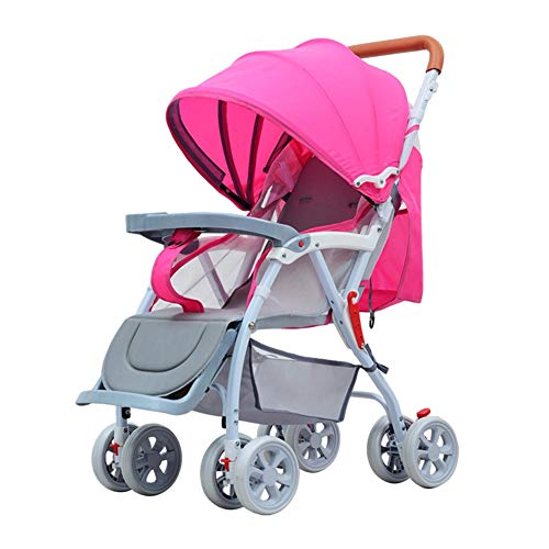 SUN JUNWEI Pushchairs And Strollers,Bamboo Wicker Rattan Mat Baby Stroller Can Sit And Lie on Four Wheels 360° Rotating Spring Shock Absorber Baby Stroller,Pink