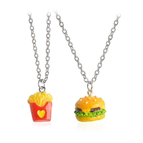 YINLIN Cartoon 2/Pcs Hamburger and French Fries Necklace BFF Jewelry (Silver)