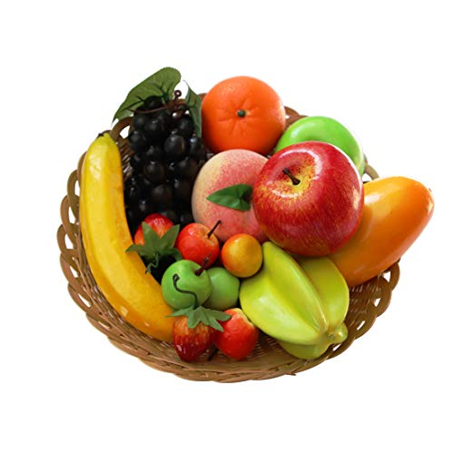 Lorigun Paquete de 12 Tipos de Frutas Artificiales, 12 Frutas Diferentes en un Juego, Frutas Falsas para la decoración del hogar, Juego de Frutas de simulación, Decoraciones de Fiesta de Navidad