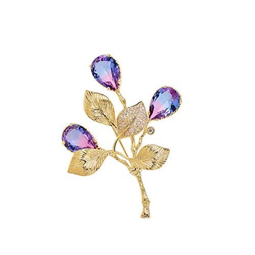 xiaokeai Mujer Broches Ladies Broche de Gama Alta Exquisito Encantador Broche Ropa Bufanda Chal Sombrero de decoración Accesorios (Azul de Oro/Oro púrpura) JoyeríA De Moda (Color : A)