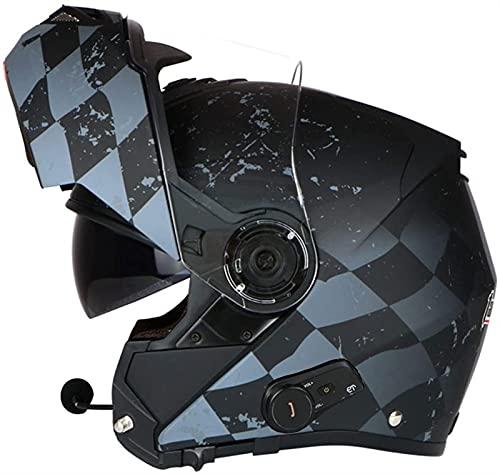 ZYQZYQ Bluetooth integrado Modular Flip Up Casco de motocicleta de la cara completa, Certificado de puntos, Viseras duales Cascos modulares con cara completa Micrófono de auriculares Bluetooth incorpo