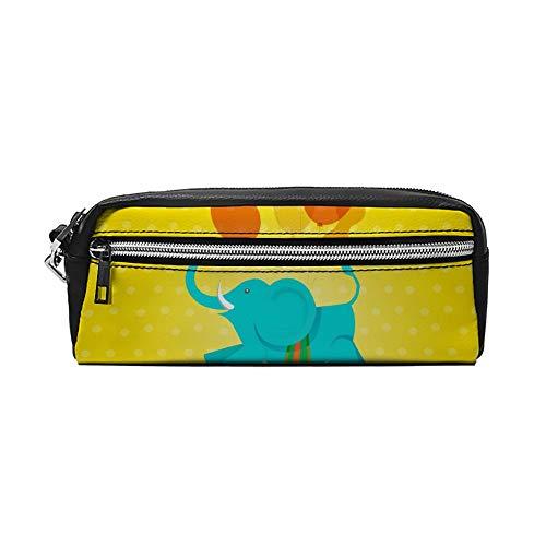 Leuke olifant met ballon gele PU lederen etui make-up tas cosmetische tas potlood zak met rits reizen toilettas voor vrouwen meisjes