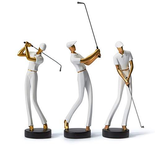 Amoy-Art Skulptur Figur Golf Genius Statue Art Golfspieler Dekor für Haus Geschenk Andenken Giftbox Resin Weiß 24cmH - 8