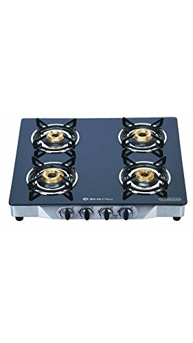Bajaj Cgx4, Gas Stove, Stainless Steel Glass Top 4 Burner