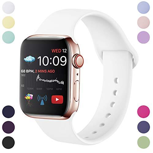 Hamily Correa Compatible con Apple Watch 38mm 40mm, Correa de Repuesto de Silicona Suave para Apple Watch Series 5/4/3/2/1, S/M, Blanco