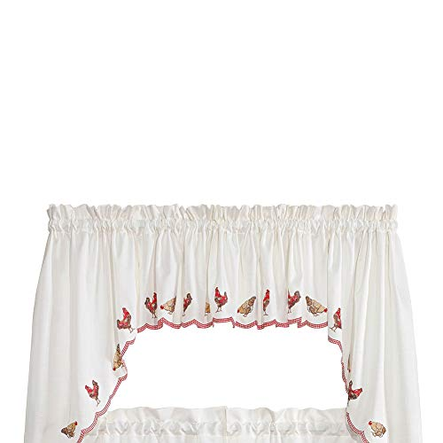 Collections Etc Renaissance Home Fashion Roosters Embroidered Valance, 58' X 12', Crimson