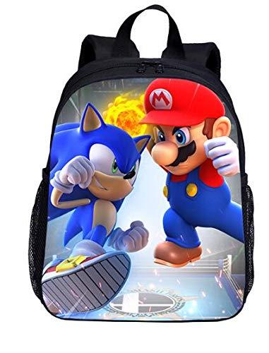 Juego de mochila escolar Super Mario Vs Sonic The Hedgehog Print mochila escolar para niños y niñas, bolsa de viaje (bolsa)