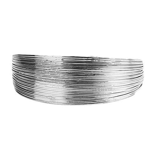 Fliyeong - Bracciale rigido multistrato con filo metallico da donna, motivo geometrico, aperto, stile punk, colore argento, creativo e utile