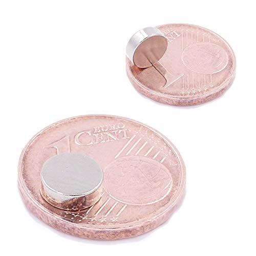 Brudazon | 10 Mini Imanes Discos 6x2mm | N52 Nivel más Fuerte - Los imanes de neodimio Ultra Fuertes | Imán del Poder para la Toma de Modelo, Foto, Pizarra Blanca | Pequeño, Redondo y Extra Fuerte