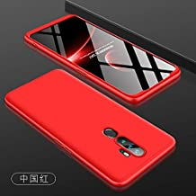 360 Degree Protection 3 in 1 Slim PC Cover - XiMeiAcc Shockproof Shell Full Body Coverage Hard Protective Case + Tempered Glass Screen Protector For OPPO A5 2020/A9 2020/A11x - Red