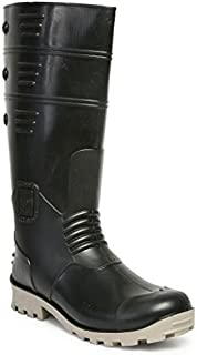 Hillson TC07HLS0022 Torpedo Safety Gumboots with Steel Toe (Black-Grey, UK Size 8) 1 Pair