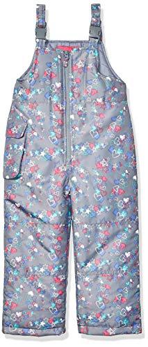 LONDON FOG Girls' Toddler Classic Snow Bib Ski Snowsuit, Grey with Stars & Hearts, 4T