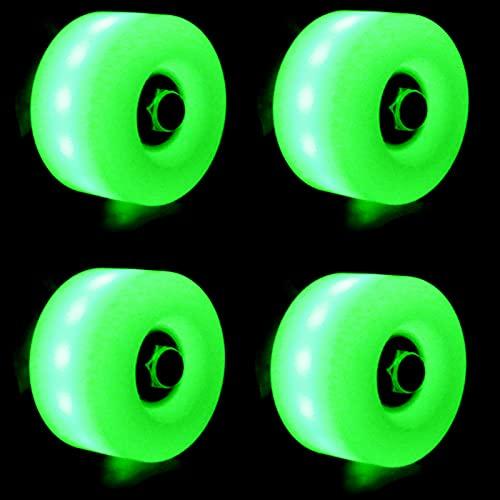 4 Piezas Encender Ruedas De Patines Cuádruples, Patineta Y Patineta Ruedas Luminosas LED, para Interior Al Aire Libre Rueda De PU Súper Resistente Al Desgaste 82A,Verde