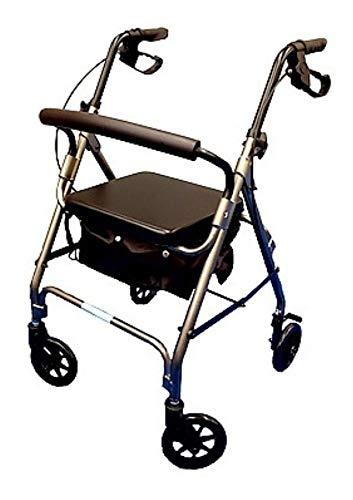 Andador alumínio dobrável de 4 rodas assento e cesta mobil