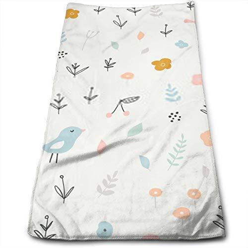 YudoHong Sin Fisuras patrón Infantil con pájaros pequeños y Elementos Florales creativos Estilo escandinavo Textura para niños para Envoltura de Tela Papel Tapiz Textil