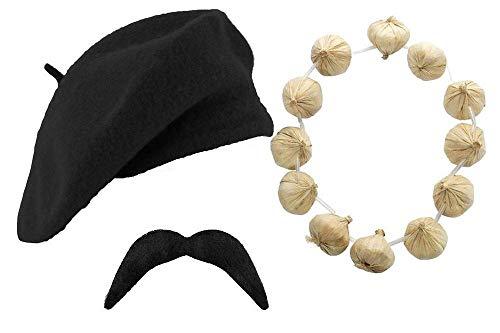 Silver Fancy Dress French Mime Set Men's Black Beret Hat, Garlic Garland Mustache / 3 PC Adult French Costume Kit , Fun Party Theme Fancy Dress