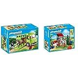 Playmobil Country Transporte De Caballo con Holstein Y Jinete En Traje De Adiestramiento, A Partir De 5 Años (6928) + Country Playset De Limpieza para Caballos, Multicolor (6929)