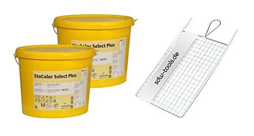 StoColor Select Plus weiß 15 Liter Set mit Rollsieb (2 Eimer / 1 Rollsieb) Wandfarben