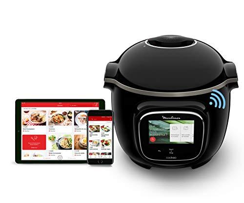 Moulinex Cookéo Touch Wifi - CE902800 - Cocina multicocina inteligente, alta presión, conectada, pantalla táctil, 250 recetas, 13 modos de cocción, aplicación dedicada, tazón de 6 litros, guía interactiva - 1600 W