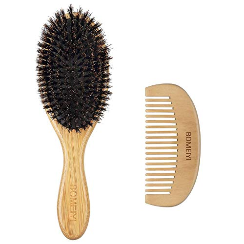 BOMEIYI 100% Boar Bristle Hair Brush Set,Set for Women Mens Kids,Designed for Thin and Normal Hair,Makes Hair Shiny and Improves Hair Texture Straightening Styling Bamboo Wooden Paddle Hair Brush