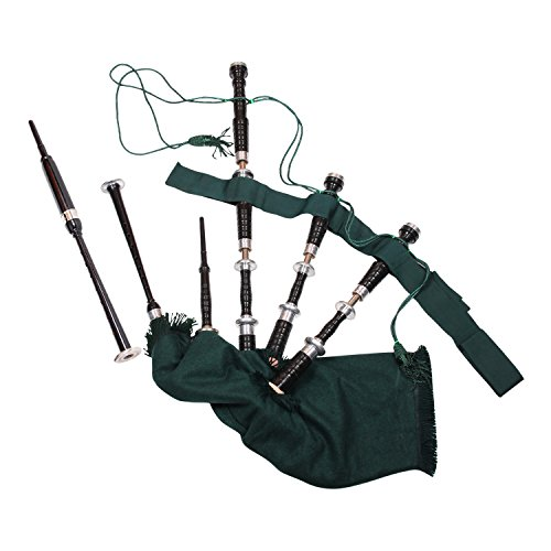 Army Musical Highland School Rosewood Bagpipe, 1-Piece, Green and Black