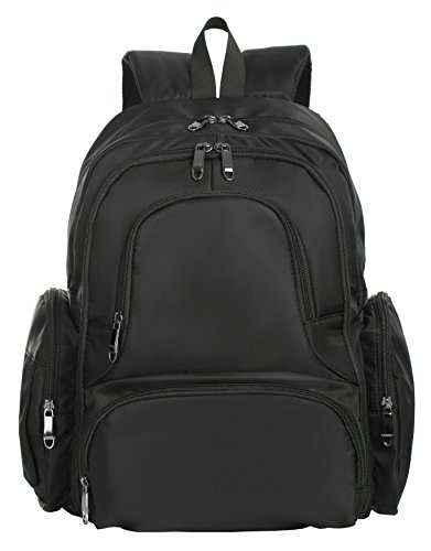 Baby 16 Pockets Waterproof Lightweight Fabric Travel Backpack Diaper Bag with Changing Pad 3 Pieces Set (Black)